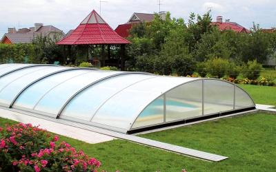 защита-крыша бассейне